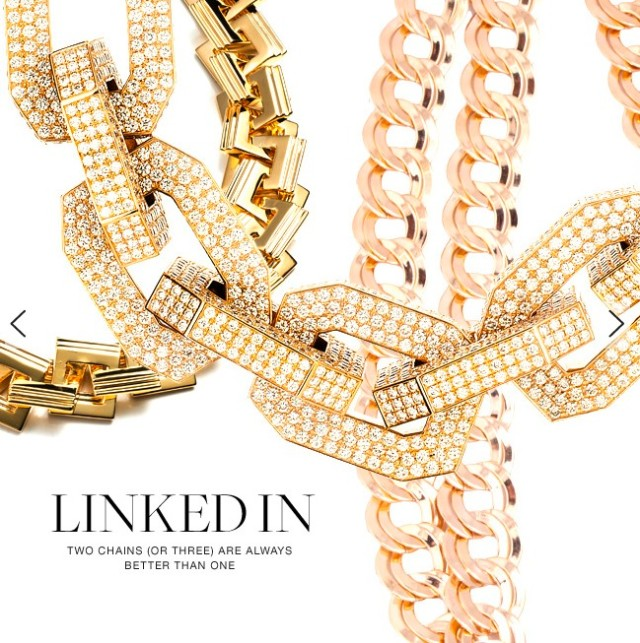 LINKEDIN with gold chains.