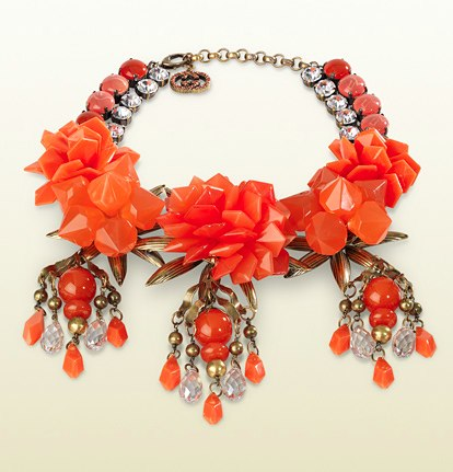 Gucci Coral Flowers Motif Necklace